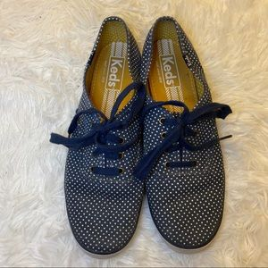 Keds Navy and White Polka Dot Sneakers Size 7